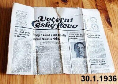 30.1.1936 Večerní České Slovo
