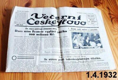 noviny z roku 1932 1.dubna