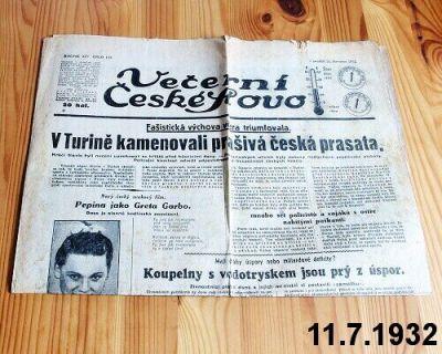 noviny z července 1932