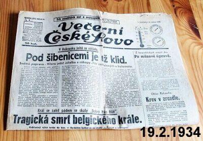 staré noviny únor 1934