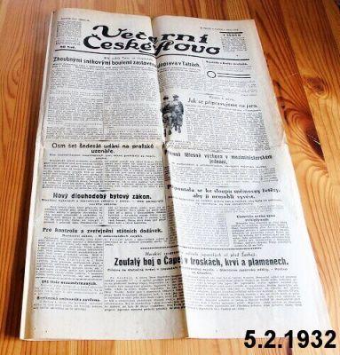 staré noviny z roku 1932
