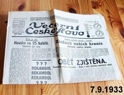 staré noviny září 1933