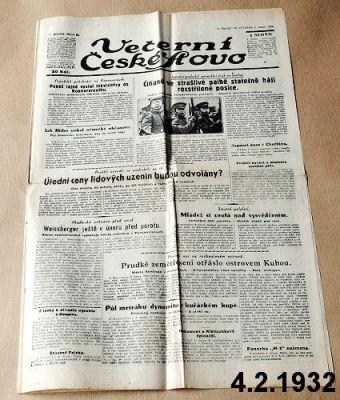 noviny z roku 1932 únor