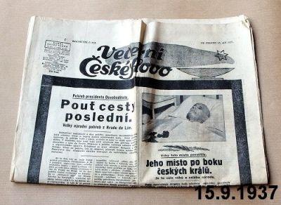 staré noviny z roku 1937