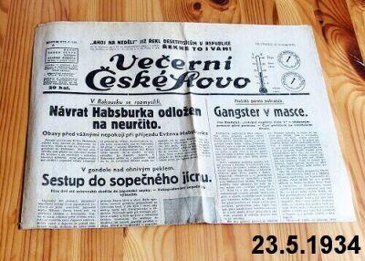 staré předválečné noviny 1934