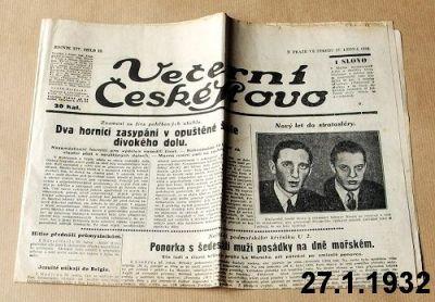 lednové noviny z roku 1932