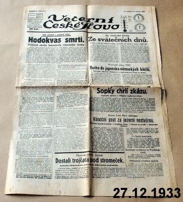 staré noviny prosinec 1933