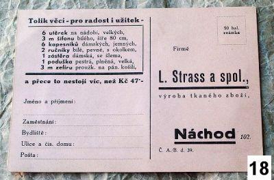 starý objednací lístek Strass a spol.