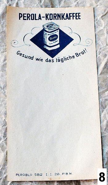 účtenka s reklamou Perola-Kornkaffee