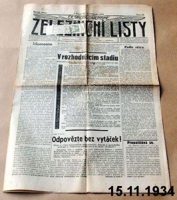 předválečné železniční noviny 1934