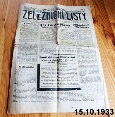 železniční noviny 1933