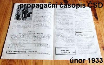 starý propagační časopis ČSD 1933
