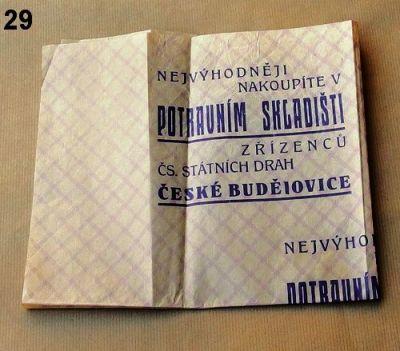 balící papír Potravní skladiště zřízenců ČSD