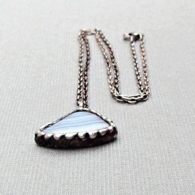 cínovaný náhrdelník s achátem