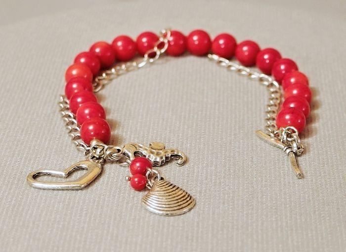 náramek červený korál