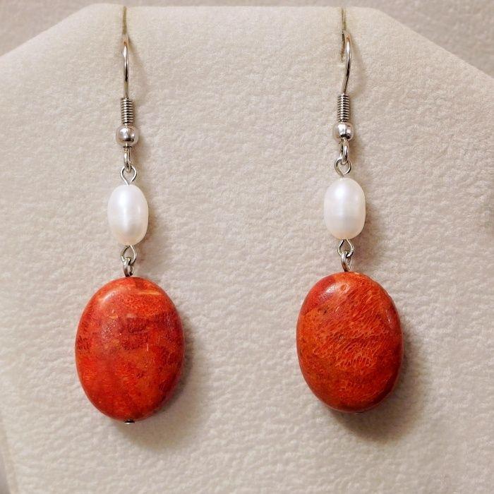 náušnice s perlou a korálem