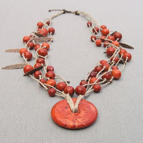 etno náhrdelník houbový korál