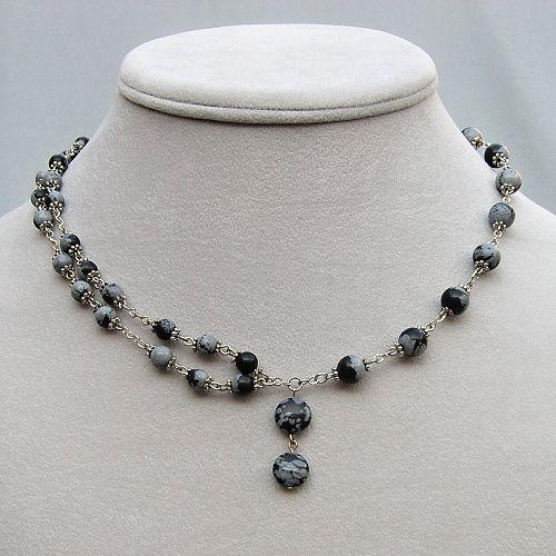 náhrdelník z obsidiánu