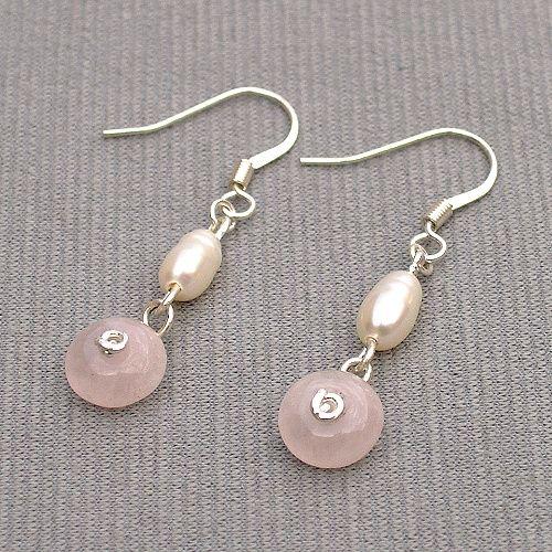 náušnice růženín a perly